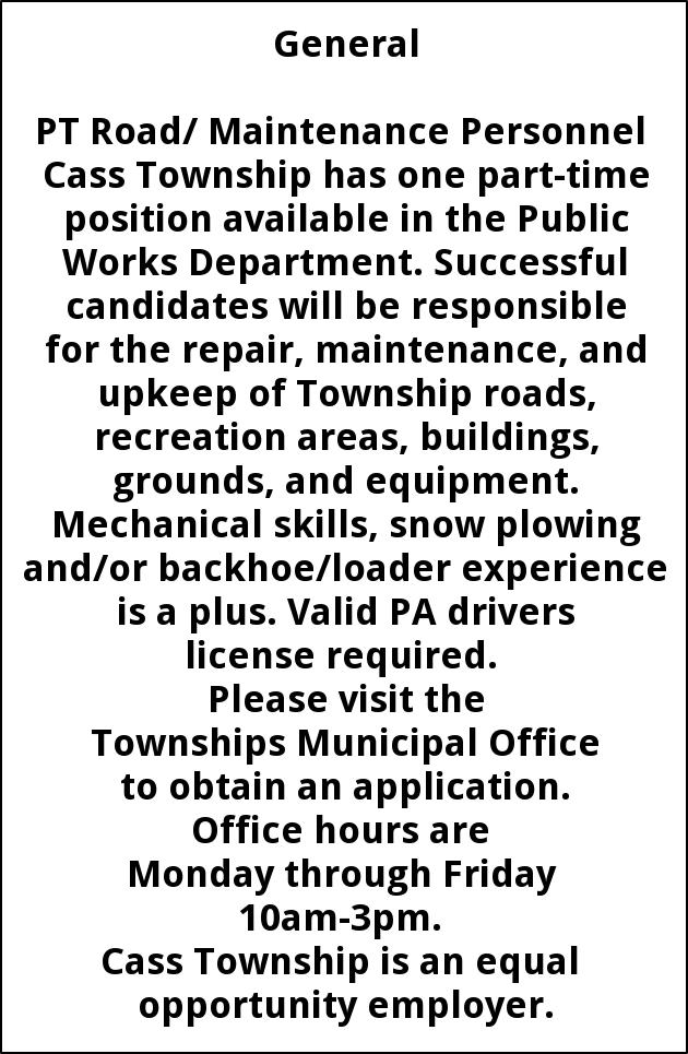 Road/ Maintenance Personnel