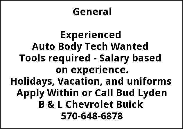 Experienced Auto Body Tech