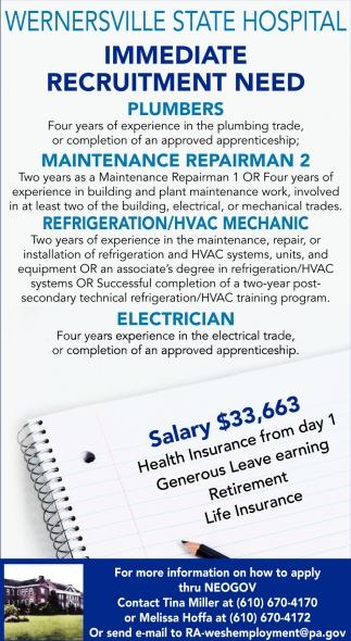Plumbers Maintenance Repairman 2 Refigeration HVAC Mechanic