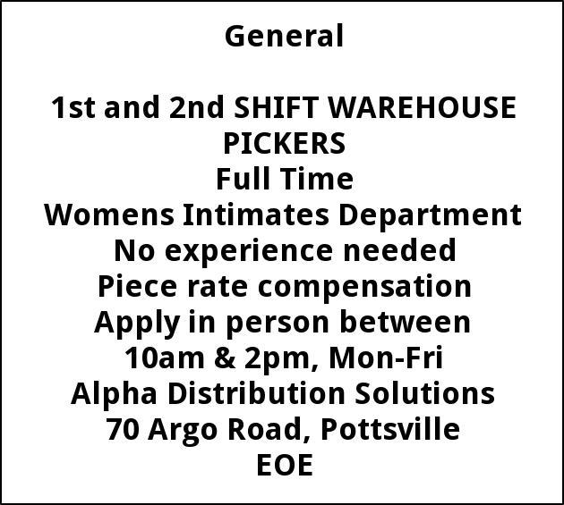 warehouse pickers alpha mills port carbon pa. Black Bedroom Furniture Sets. Home Design Ideas