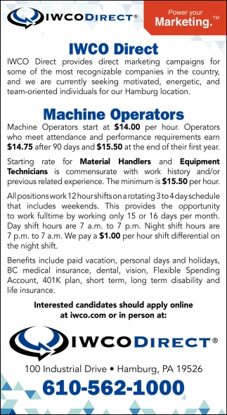 Machine Operators  Material Handlers  Equipment Technicians