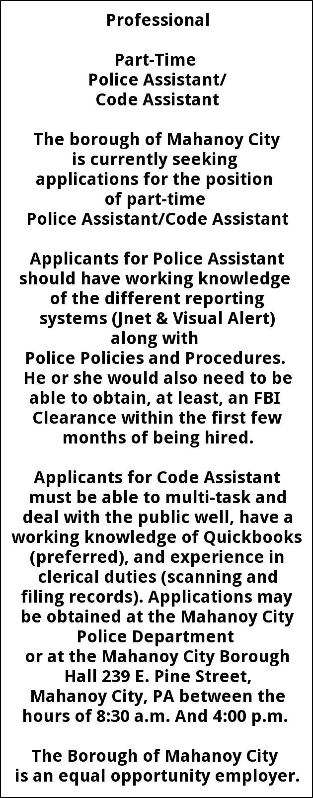 Police Assistant/Code Assistant Part-Time