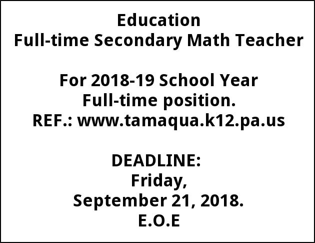 Full-time Secondary Math Teacher