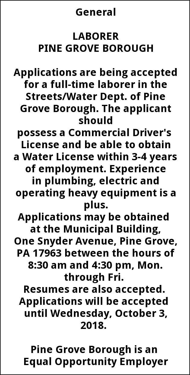 Laborer - Pine Grove Borough