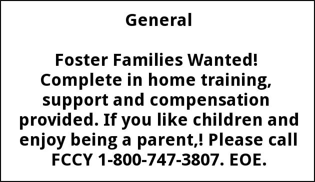 Foster Families Needed