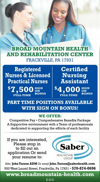 Rns Lpns Cnas Sign On Bonus Saber Broad Mountain Nursing And Rehab