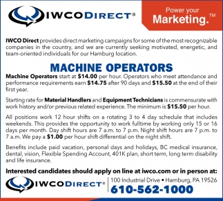 Machine Operators, Material Handlers, Equipment Technicians