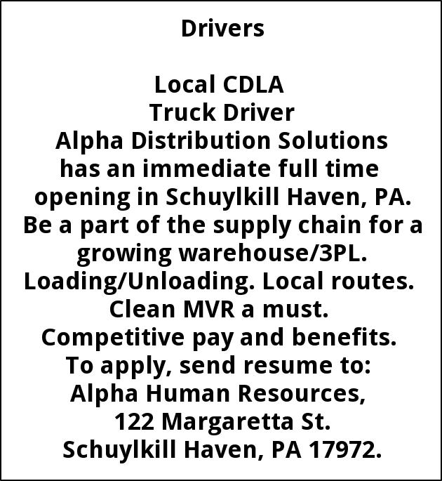 Local CDLA Truck Driver