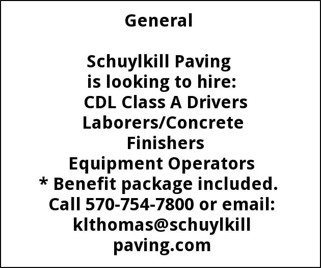 Class A CDL Driver, Paving Foreman, Operators, Clerical,