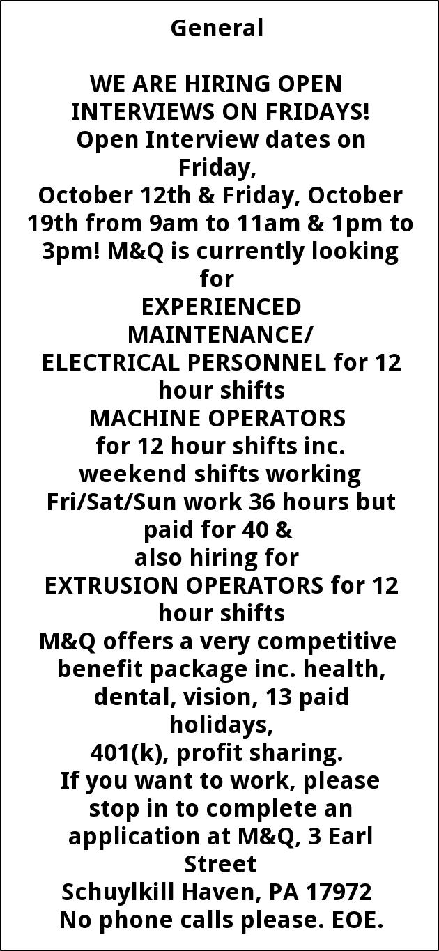 Maintenance and Electrical Personnel, Machine Operators, Extrusion Operators