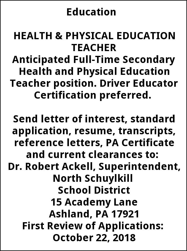 Health And Physical Education Teacher North Schuylkill School