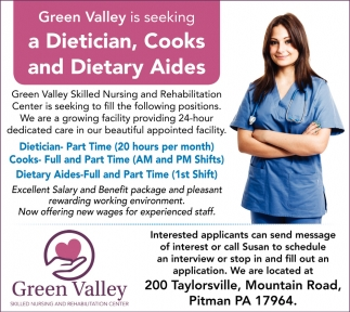 CNAs, Dietary Staff, Green Valley, Pitman, PA