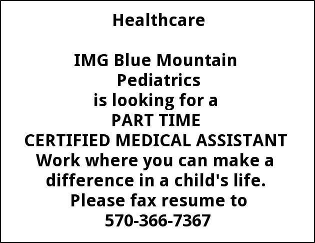 Certified Medical Assistant Blue Mountain Pediatrics