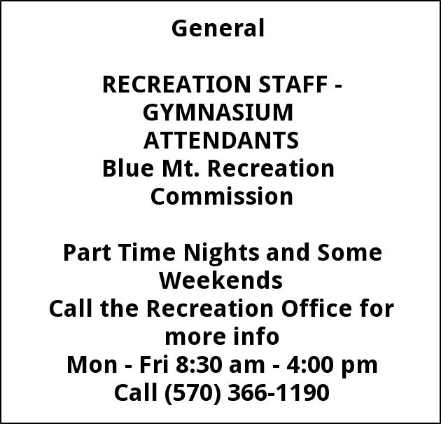 Recreation Staff - Gymnasium Attendants