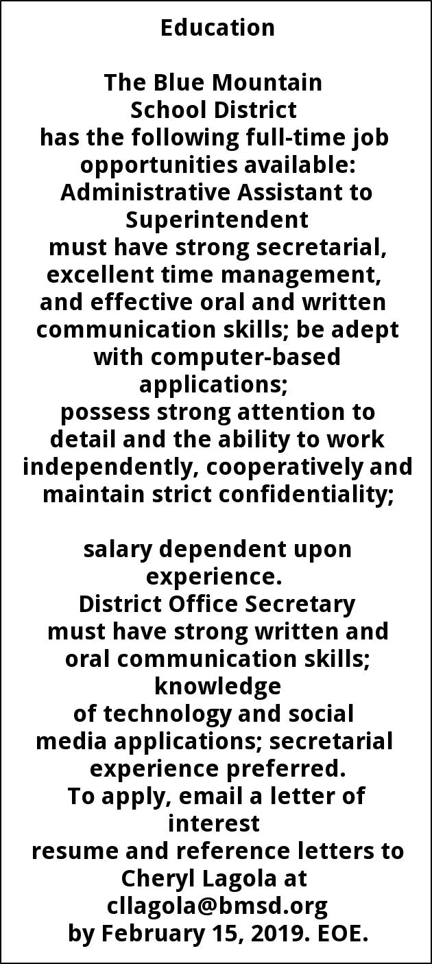Administrative Assistant to Superintendent