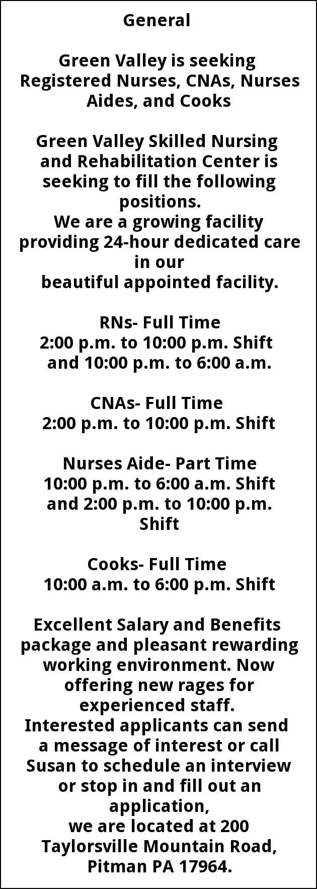 Registered Nurses, CNAs, Nurses Aides and Cooks, Green