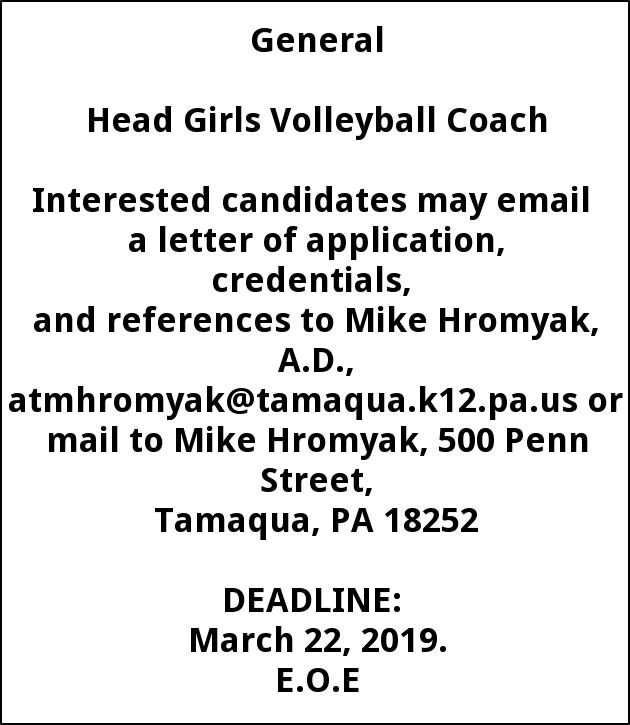 Head Girls Volleyball Coach