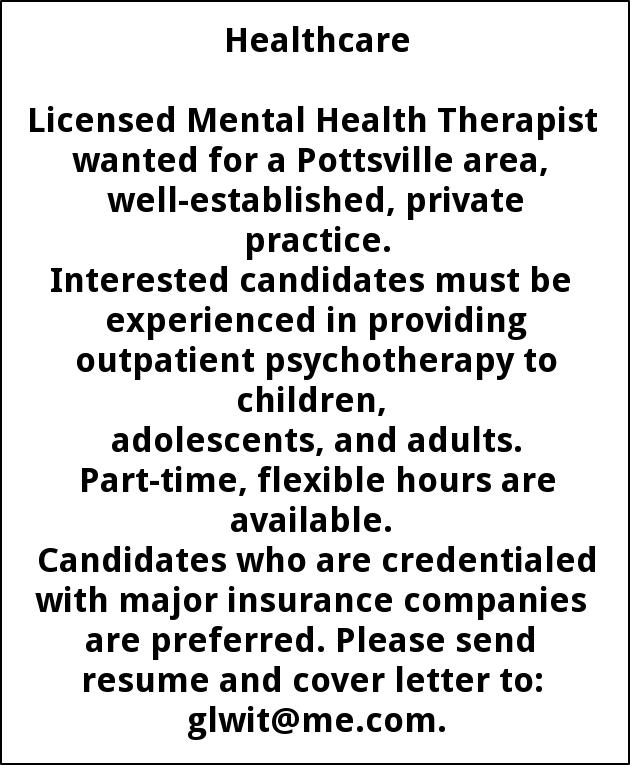 Licensed Mental Health Therapist, Schuylkill Therapy Associates