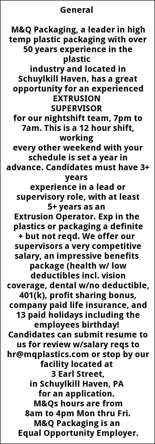 EXTRUSION SUPERVISOR