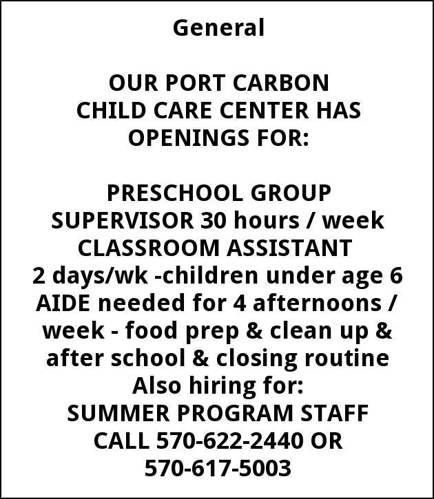 Childcare Teacher, aides, summer programs