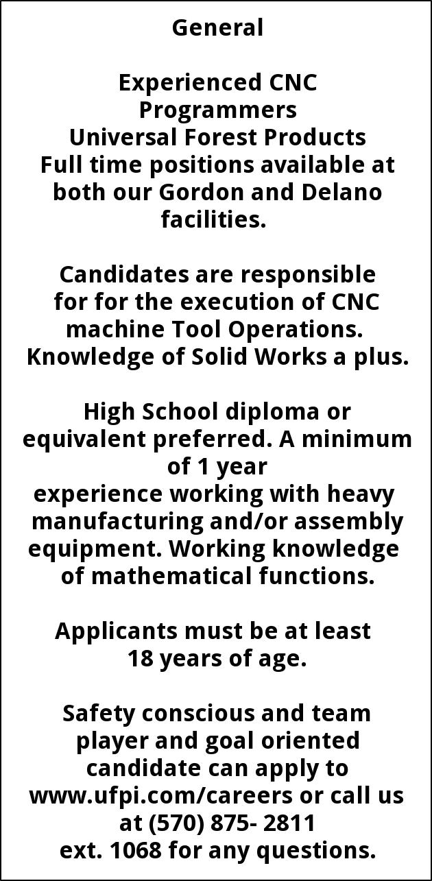 CNC Programmers