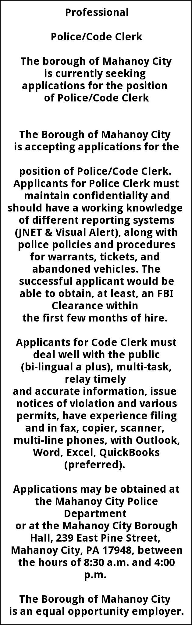 Police/Code Clerk