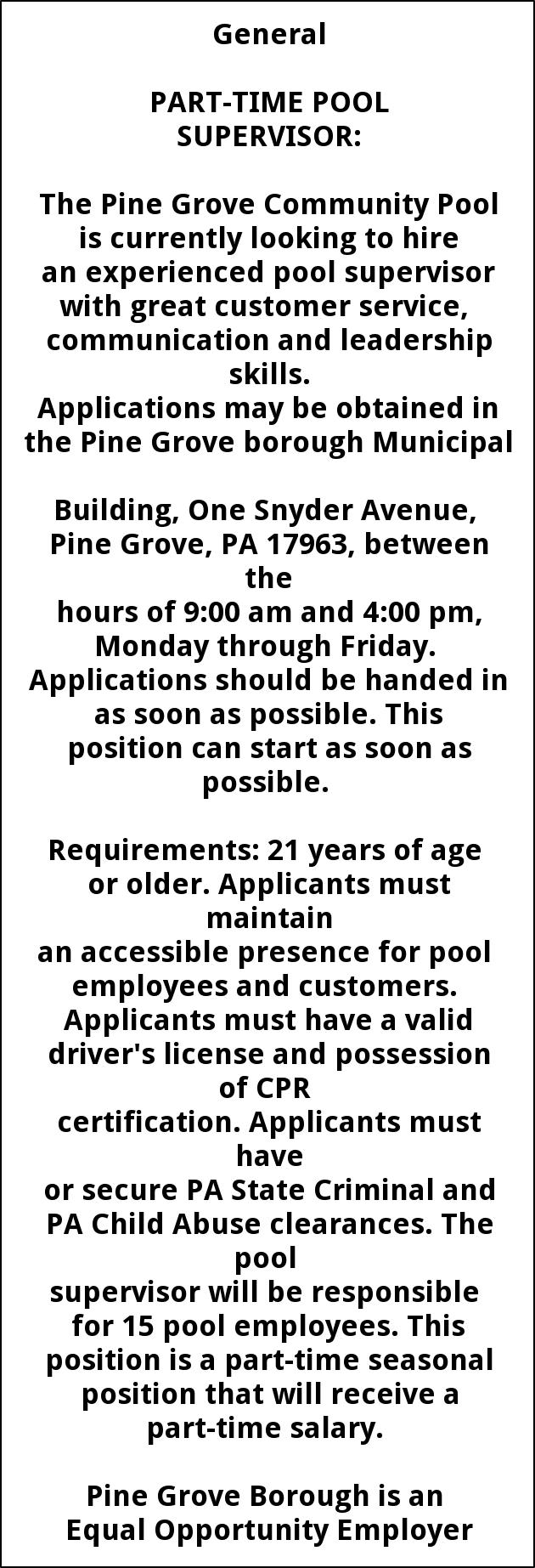 Part Time Pool Supervisor
