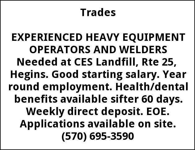 Experienced Heavy Equipment Operators And Welders