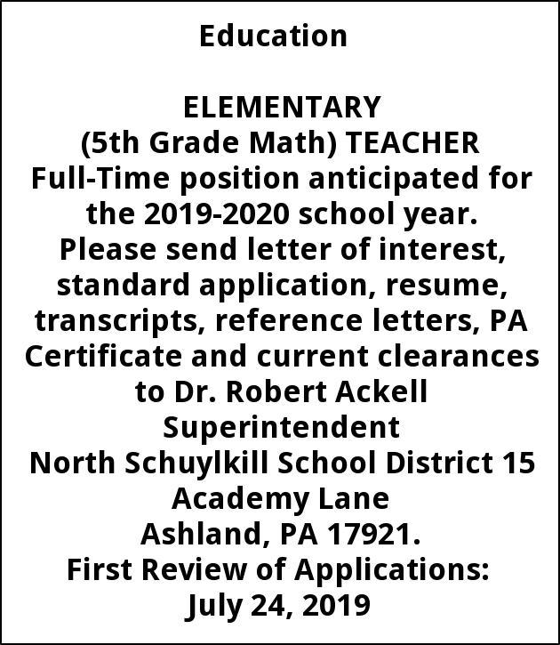 Elementary Math Teacher North Schuylkill School Ashland Pa