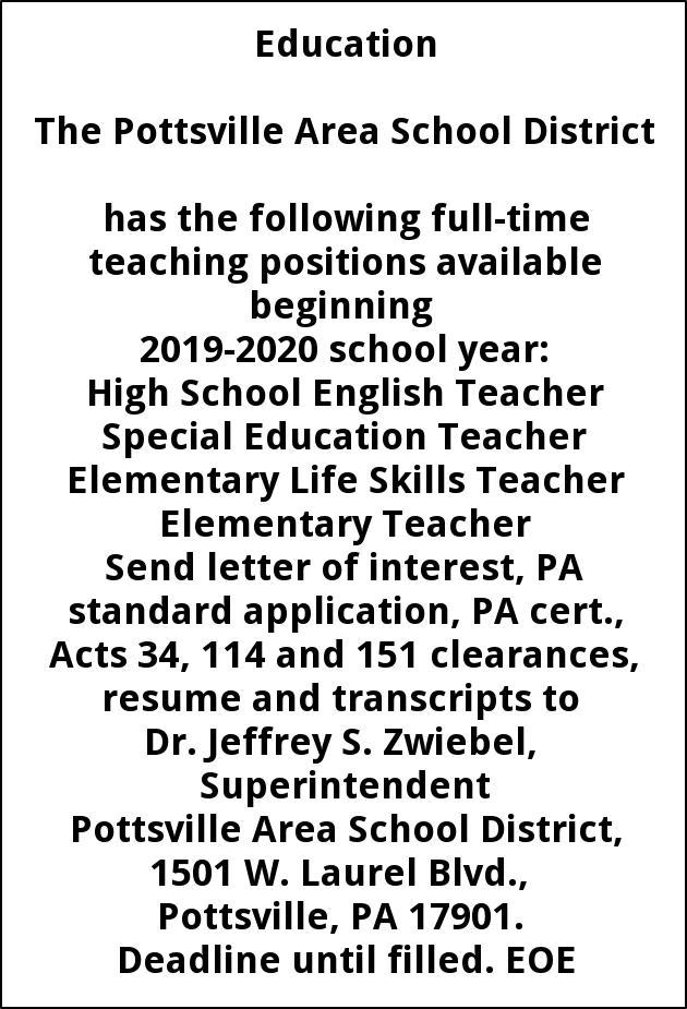 High School English Teacher, Special Education Teacher