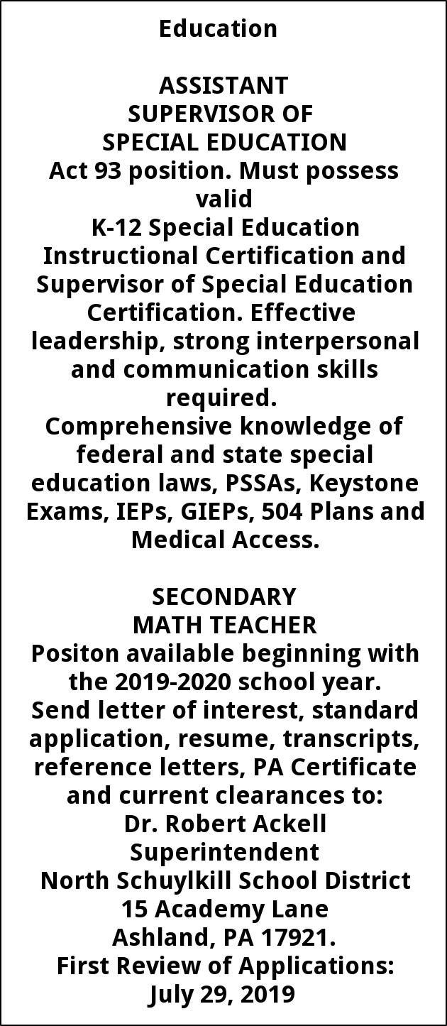 Math Teacher and Assistant Supervisor of Special Education