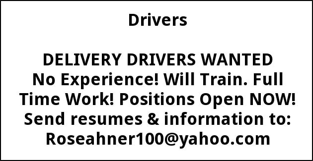 Delivery Drivers Wanted