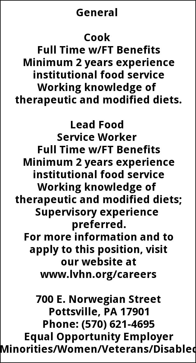 Cook and Lead Food Service Worker