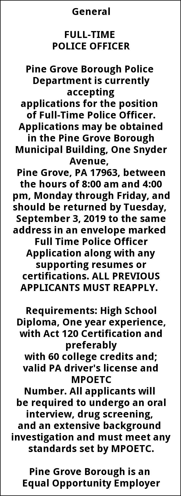 Full Time Police Officer Needed