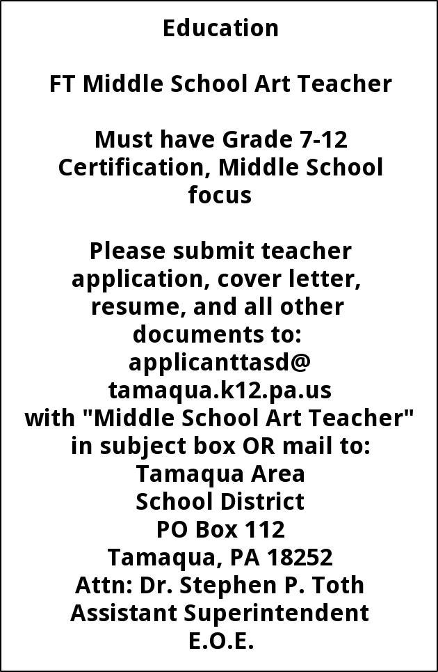 Art Teacher, Tamaqua Area School District, Tamaqua, PA