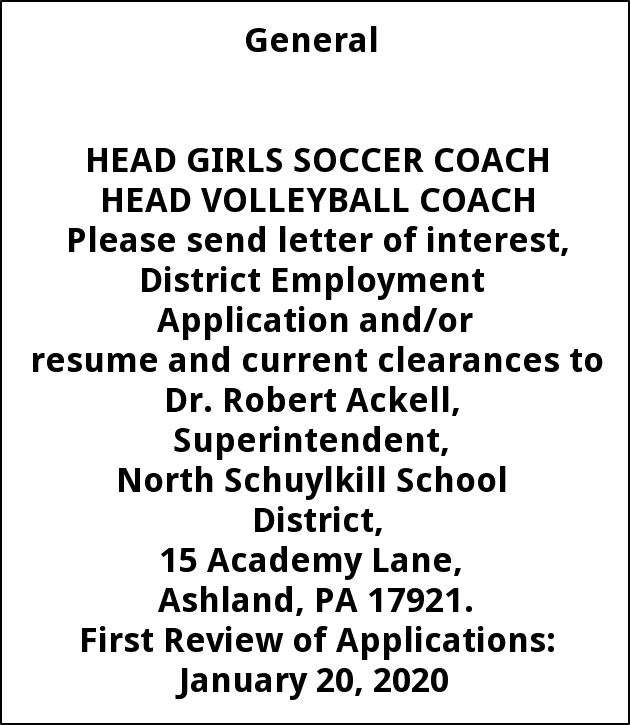 Head Girls Soccer Coach, Head Volleyball Coach