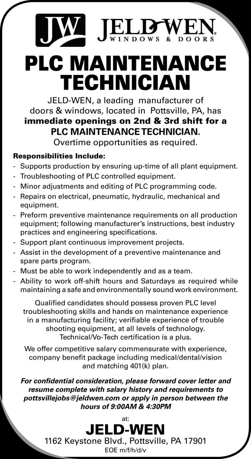 PLC Maintnance Technician