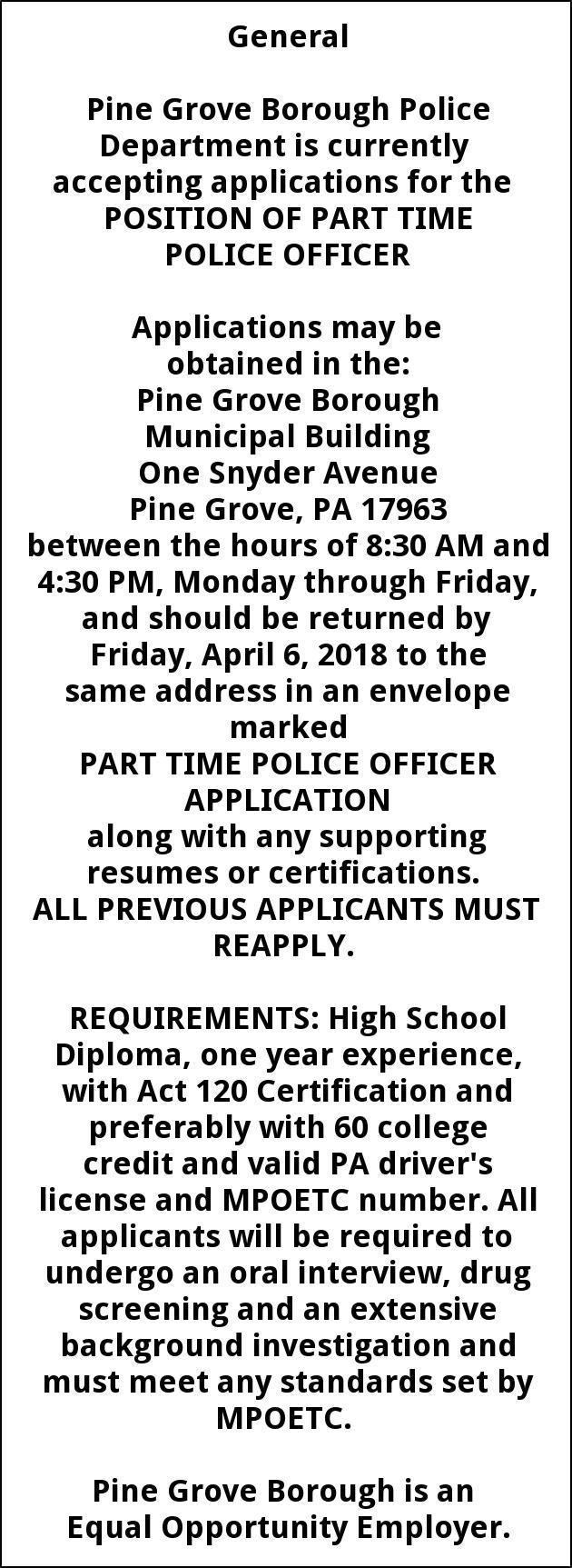 Police Officer Position Pine Grove Borough Pine Grove Pa