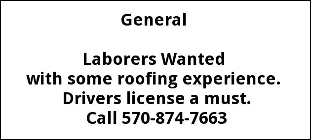 Laborers Wanted