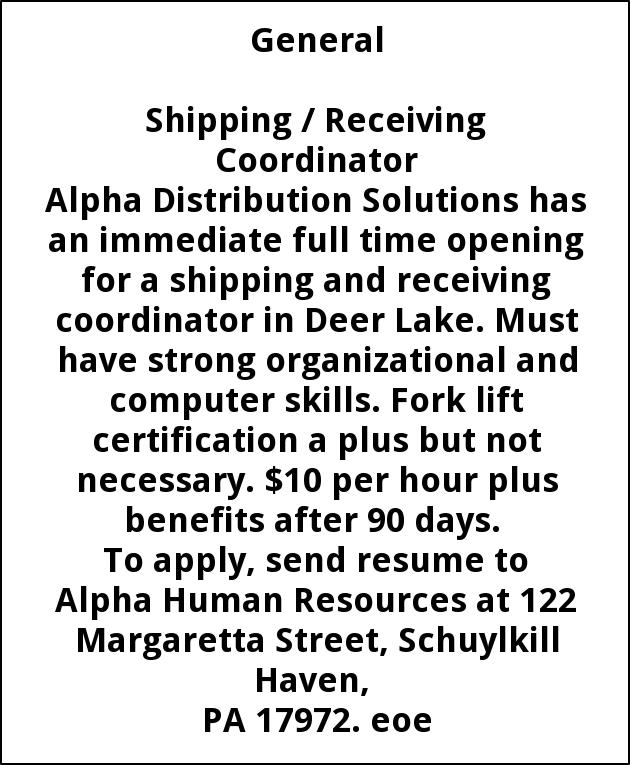 Shipping / Receiving Coordinator