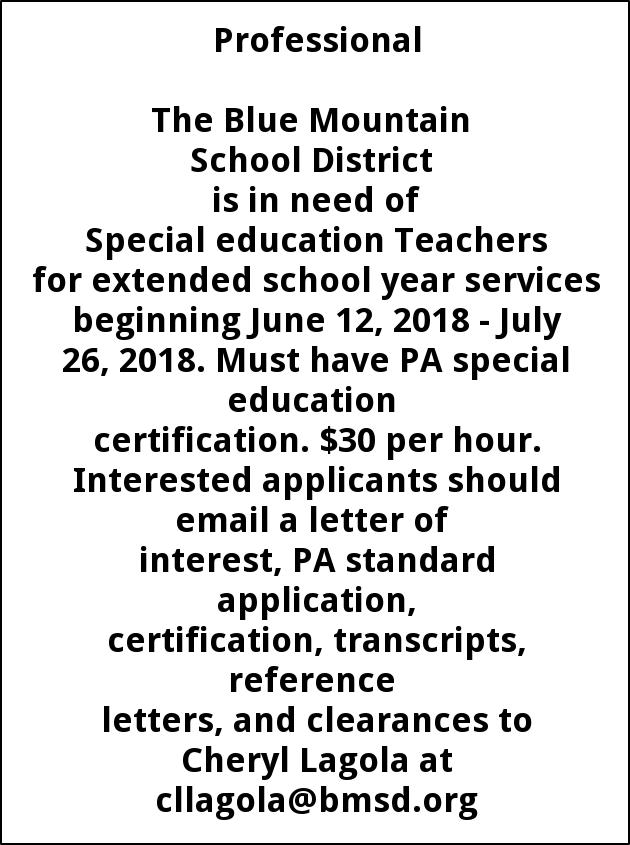 Special education teachers blue mountain school distrcit expocarfo Image collections