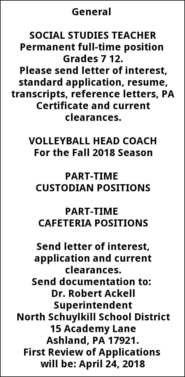 Social Studies Teacher, Volleyball Head Coach, Part Time Custodian Positions, and Part Time Cafeteria Positions