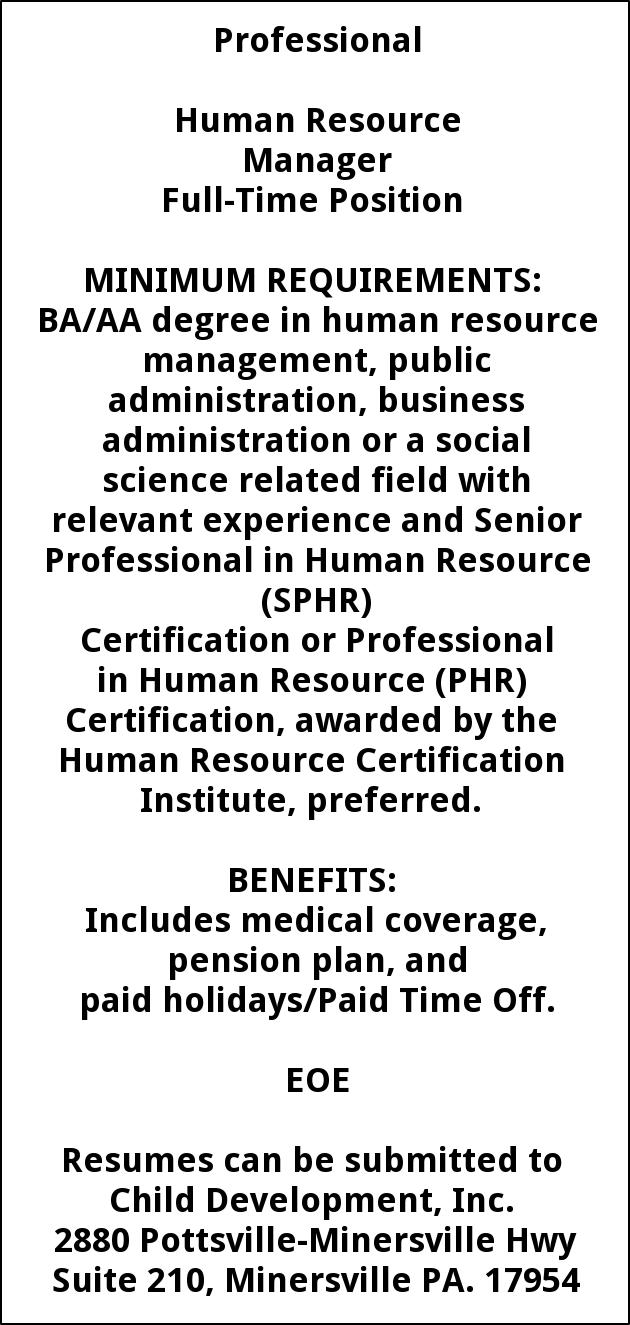 Human Resource Manager, Child Development Inc, Minersville, PA