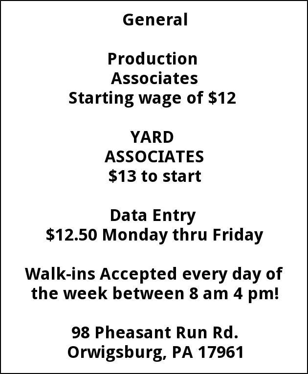 Production ASsociates, Yard Associates, Data Entry
