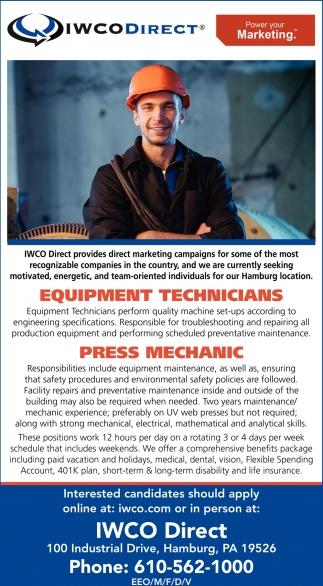 Equipment Technicians, Press Mechanic