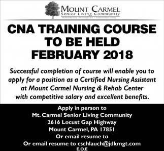 Cna Training Course To Be Held February 2018 Mount Carmel Senior