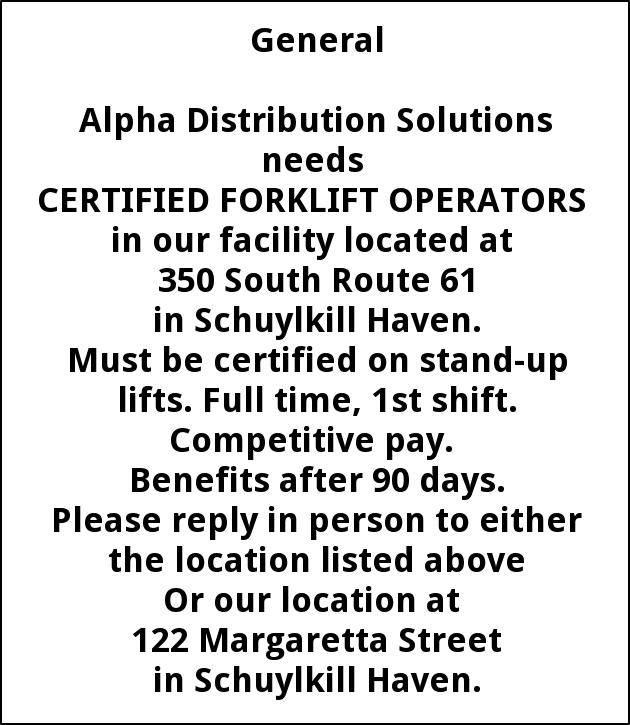 Certified Forklift Operators