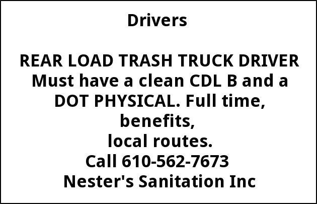 REAR LOAD TRASH TRUCK DRIVER