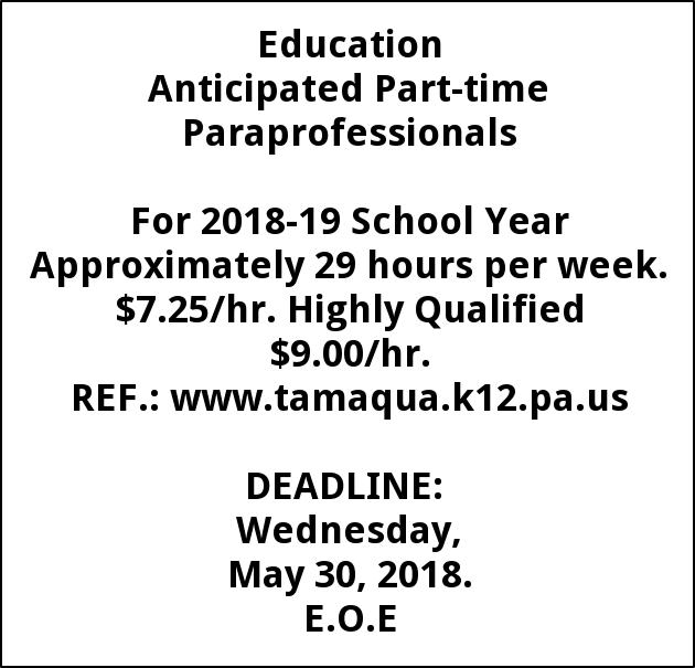 Anticipated Part-time Paraprofessionals