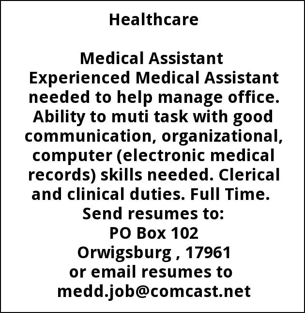 medical assistant skills needed